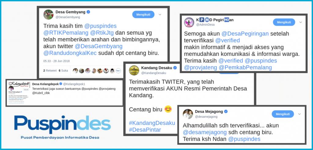 Beberapa cuitan antusiasme para admin desa setelah akun pemerintah desanya terverifikasi oleh Twitter. Sumber: Twitter @puspindes.