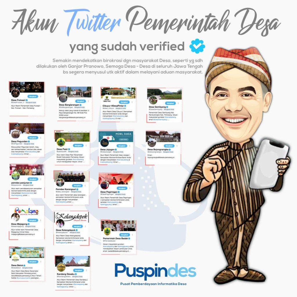 Rangkuman aftar beberapa akun pemerintah desa di Kabupaten Pemalang yang telah diverifikasi oleh Twitter. Desain grafis oleh Muslimin.