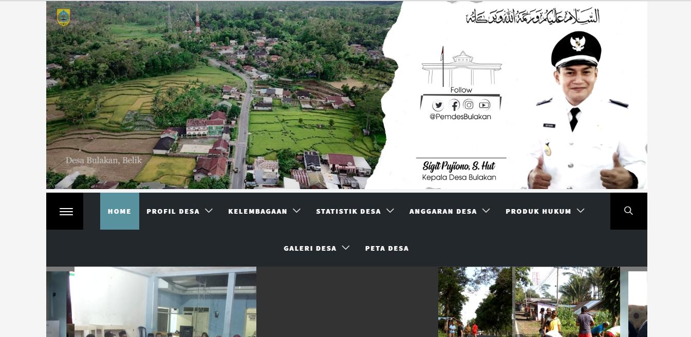 Tampilan website desa Bulakan kecamatan Belik kabupaten Pemalang. bulakan.desakupemalang.id